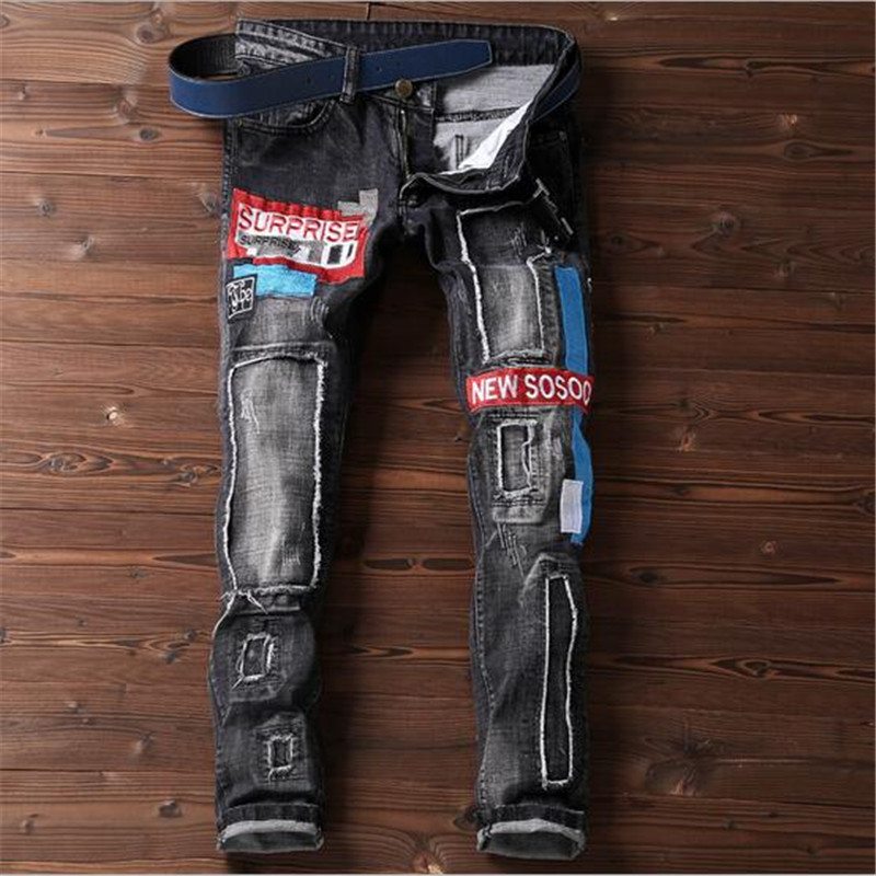 2018 Spring New Fashion Men Embroidered Patch Holes Denim Pants Beggar Harem Pants Ripped Jeans Men Casual Printed A2992