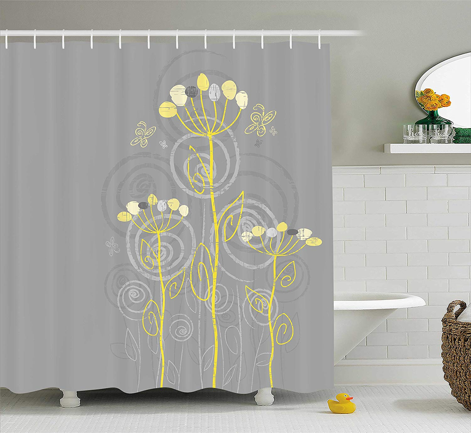 Us 12 8 30 Off Grey And Yellow Shower Curtain Under The Sea Inspired Flowers Abstract Swirls Backdrop Fabric Bathroom Decor Set With Hooks In Shower
