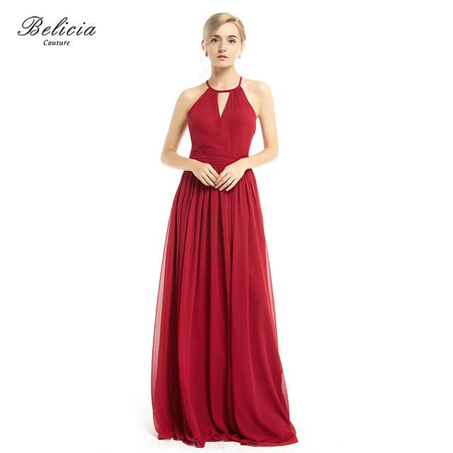 Belicia Couture Women Elegant Evening Dresses A-line Chiffon Spaghetti  Strap Party Gown Sleeveless Burgundy Prom Dress b6b1ef97d6c0