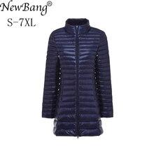 Newbang jaqueta feminina longa ultraleve e grande, casaco de plumas com tamanho grande, para outono e inverno, plus 6xg, 7xg uso externo