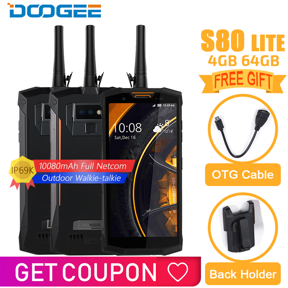 IP68/IP69K DOOGEE S80 Lite Carga Sem Fio Do Telefone Móvel NFC 10080 mAh 12V2A P23 Helio 5.99 FHD Núcleo octa 4 GB 64 GB Andriod 8.1