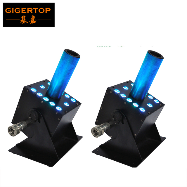 Freeshipping 2XLot Led Stage Effect Machine New Co2 Machine 12*3W RGB Color Mixing Gas Plug IN/OUT Connect DMX 7 Channels 250W