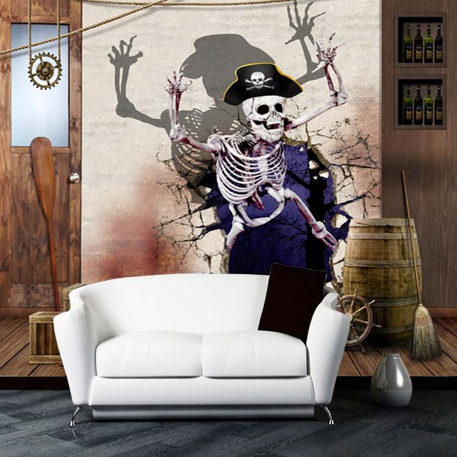 8d Large Papel Mural Skull Horror 3d Cartoon Wallpaper Mural 3d