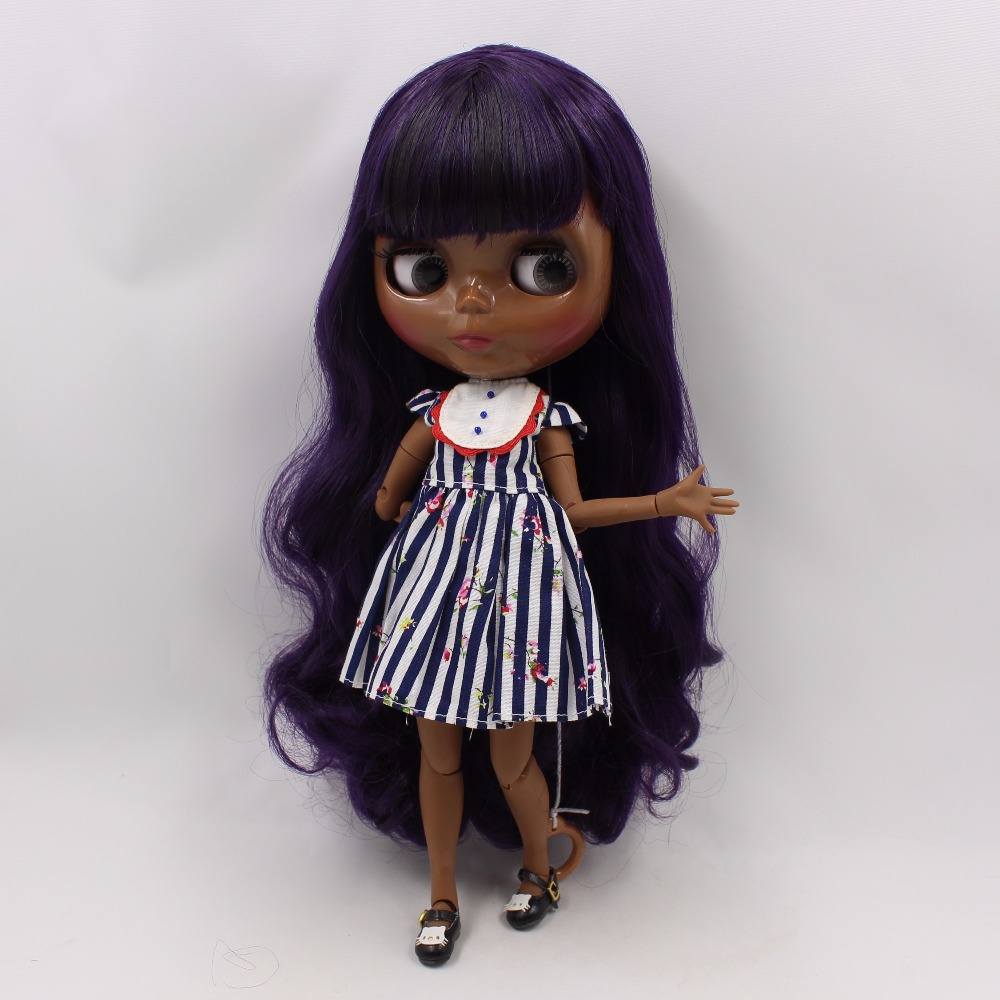 Neo Blythe Doll with Purple Hair, Black skin, Shiny Face & Jointed Body 4