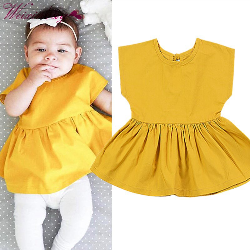 Sleeveless Yellow Princess Party Dress One-piece Dress Infantis Menina Baby Dresses Toddle Kids Clothes Summer Girls Dress