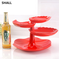 Creative Melamine Leaves Shape Layered Dry Fruit Bowl Dessert Plate Candy Snacks Nuts Seeds Holder Tray