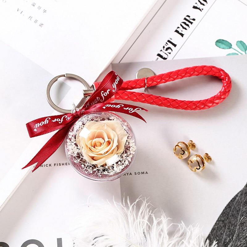 Романтический рождественский подарок для женщин вечные подвески в форме роз украшение автомобиля цветы сушеные цветы Висячие для сумки/брелок - Цвет: 09