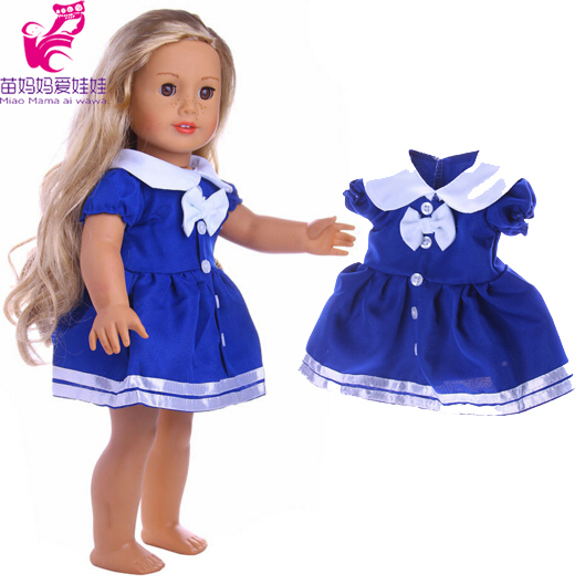 18 inch American Girl Doll Clothes blue dress for 18