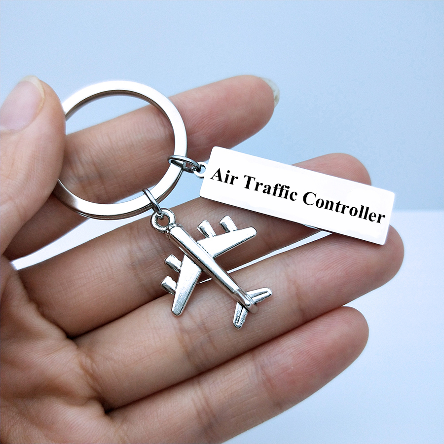 Air Traffic Controller Keyring Fly Safe Plane Keychain Couples Women Men Boyfriend Husband Pilot Flight Attendant Gift Key Fob