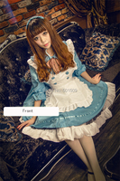 cotton blue lolita dress with apron Medieval Renaissance Dress belle ball cosplay/lolita/alice costume frenchmaid costume