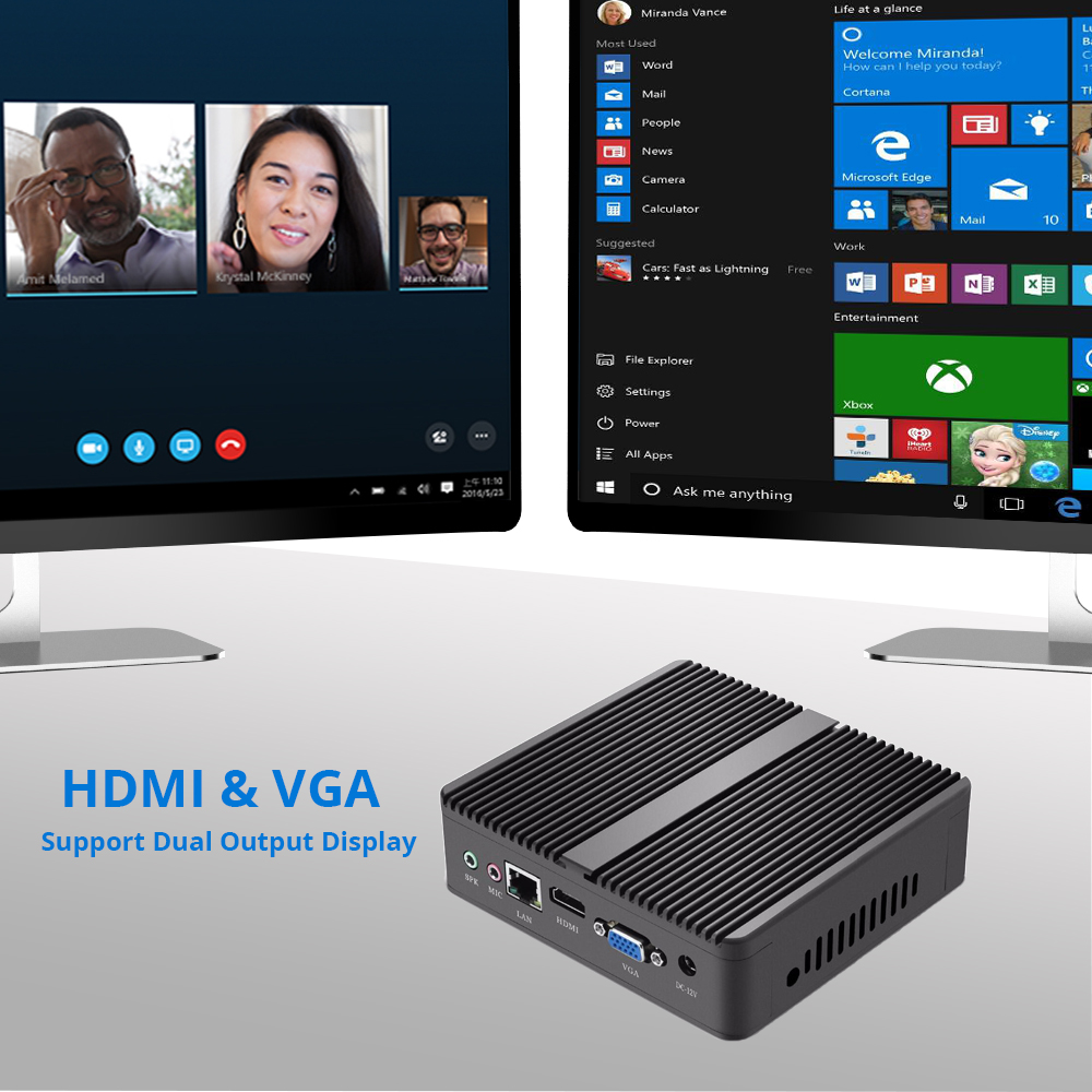 Fanless Mini PC Windows 10 Core i5 i7 4010Y 4210Y 4500Y Dual Cores WIFI HDMI VGA HTPC Laptops Micro Desktops Nettop NUC USB 3.0
