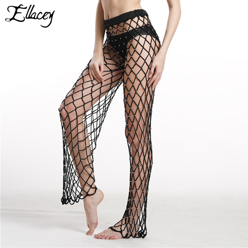 7cdc019c79 Detail Feedback Questions about Ellacey Beading Knitted Loose Trousers Beach  Holiday Hollow Out Crochet Bikini Sexy Beach Pants Female Summer Knitting  Net ...