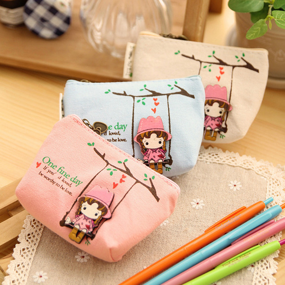 Kids & Baby's Bags Luggage & Bags Cute Canvas Coin Purse Small Zipper Wallet Lovely Girls Swing Coin Holder Purse Card Holder Money Bag Key Wallet Porte Monnaie