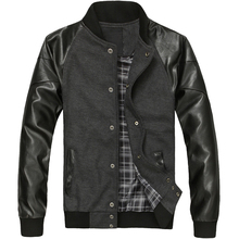 Men s Spring coats PU Leather Sleeve Jacket Casual Style Jacket Men s Fashion Collar Jackets