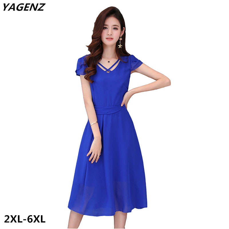 US $26.94 50% OFF|Women Chiffon Dress New summer Fashion Solid Color Casual  Costume Black Royal Blue Fat MM Big Swing Dress Plus Size YAGENZ A561-in ...