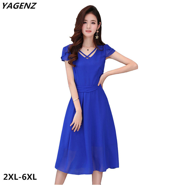 4b6b4d70070 Women Chiffon Dress New summer Fashion Solid Color Casual Costume Black  Royal Blue Fat MM Big Swing Dress Plus Size YAGENZ A561
