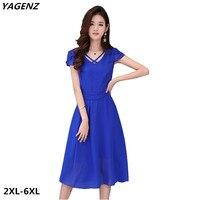 Women Chiffon Dress New summer Fashion Solid Color Casual Costume Black Royal Blue Fat MM Big Swing Dress Plus Size YAGENZ A561