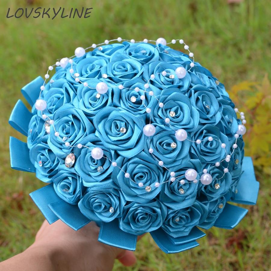 Super Good 100% Pearls Handmade Ribbon Flowers Wedding Bouquets Bridal Bouquet Blue Boque Noiva Accept Your Idea Custom Colors