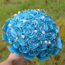 Super Good 100% Pearls Handmade Ribbon Flowers Wedding Bouquets Bridal Bouquet Blue Boque noiva Accept your Idea Custom Colors(China)