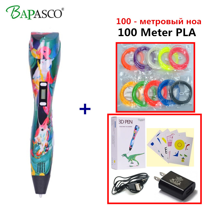 DIY 3D Printer Pen Set LCD Display 3D Drawing Pen With Powerful PLA 3D Printing Pen Birthday Gift For Kids 3 D Pen Drop Shipping perfect chrismas gift 3d pen for drawing led display diy 3d printer pen creating and safe voltage for kids high quality