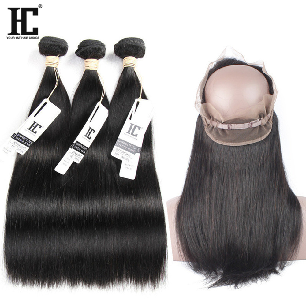 360 Lace Frontal with Bundle Peruvian Hair 3 Bundles with Closure Straight Bundles and Pre Plucked