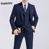 Blazer Pants Vest Classic Men Suit Slim Royal Blue Wedding Groom Wear Men Suit Black