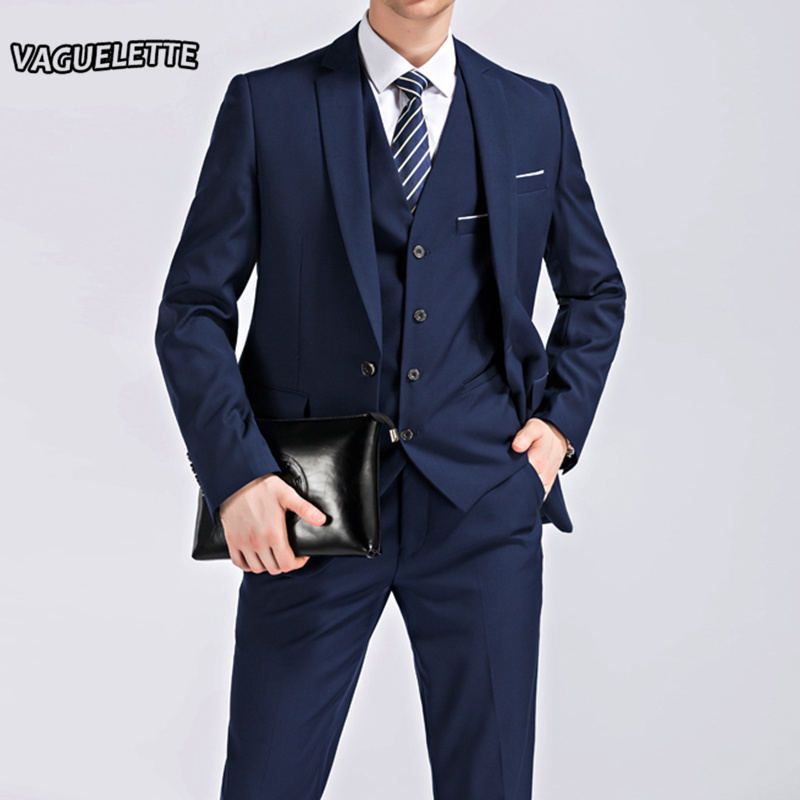 VAGUELETTE 3 Pieces Slim Fit Wedding Formal Men Suit Black