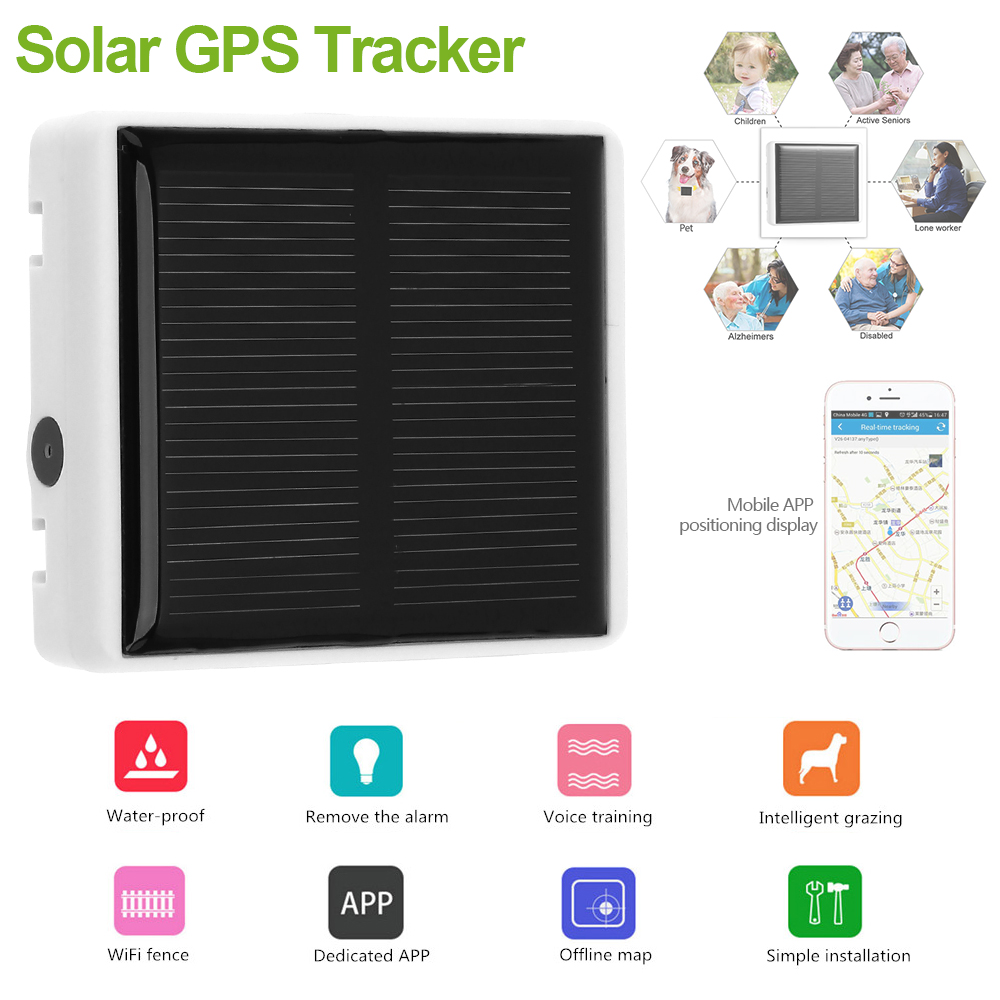 Solar GPS GSM GPRS Tracker with Class 12 TCP/IP SOS Communicator for Pet Kids Elderly Anti-lost Web APP Tracking Two-way Talk  mini portable gps locator real time tracker sos communicator with lanyard for car person