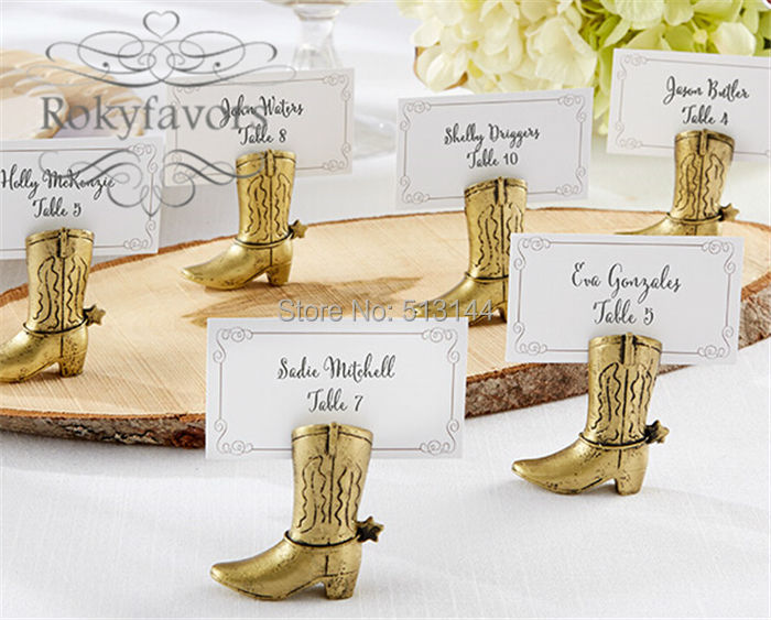 FREE SHIPPING 200PCS Western Country Cowboy Boot Place Card Holders Wedding  Decoration Gifts Party Table Supplies Bulk