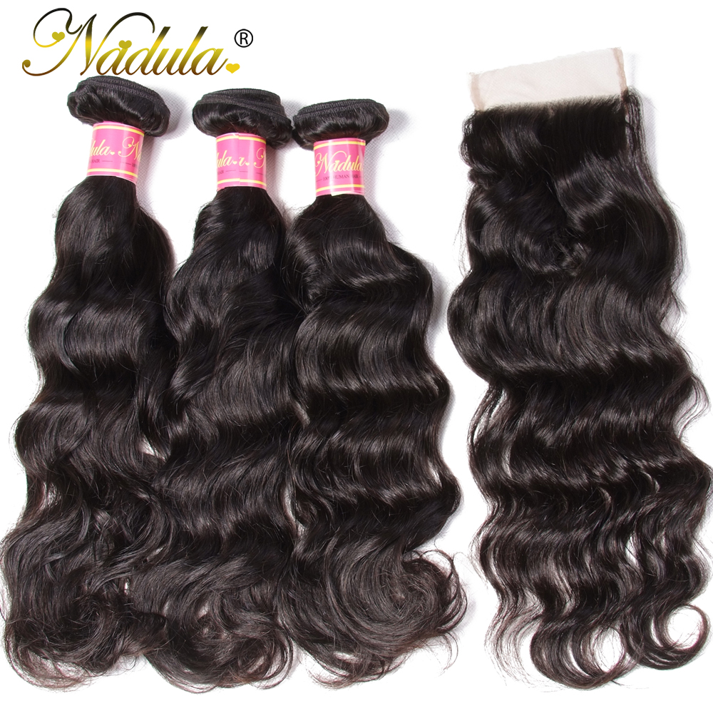 Nadula Hair 3pcs/lot  Natural Wave Closure 4*4 Free Part Lace Closure With 3 Bundles  s  3