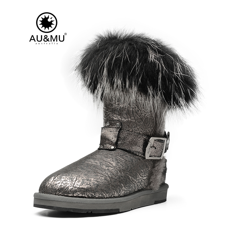 2018 AUMU Australia Patent Leather Fur Slip on Round Toe Rubber Soles Mid calf Snow Winter