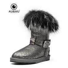 AUMU/2018 г. австралийские зимние сапоги до середины голени из лакированной кожи, на меху, без шнуровки, с круглым носком, на резиновой подошве, N362