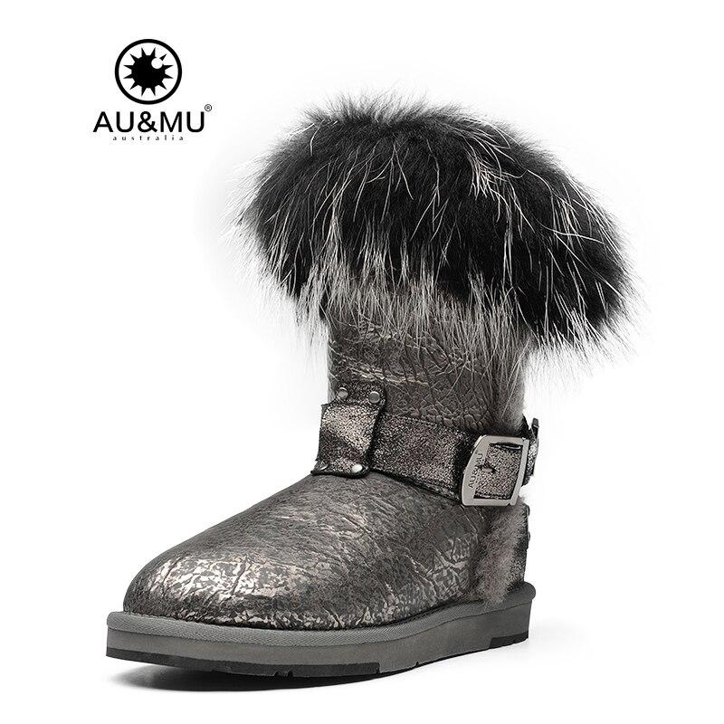 AUMU/2018 г. австралийские зимние сапоги до середины голени из лакированной кожи, на меху, без шнуровки, с круглым носком, на резиновой подошве, ...