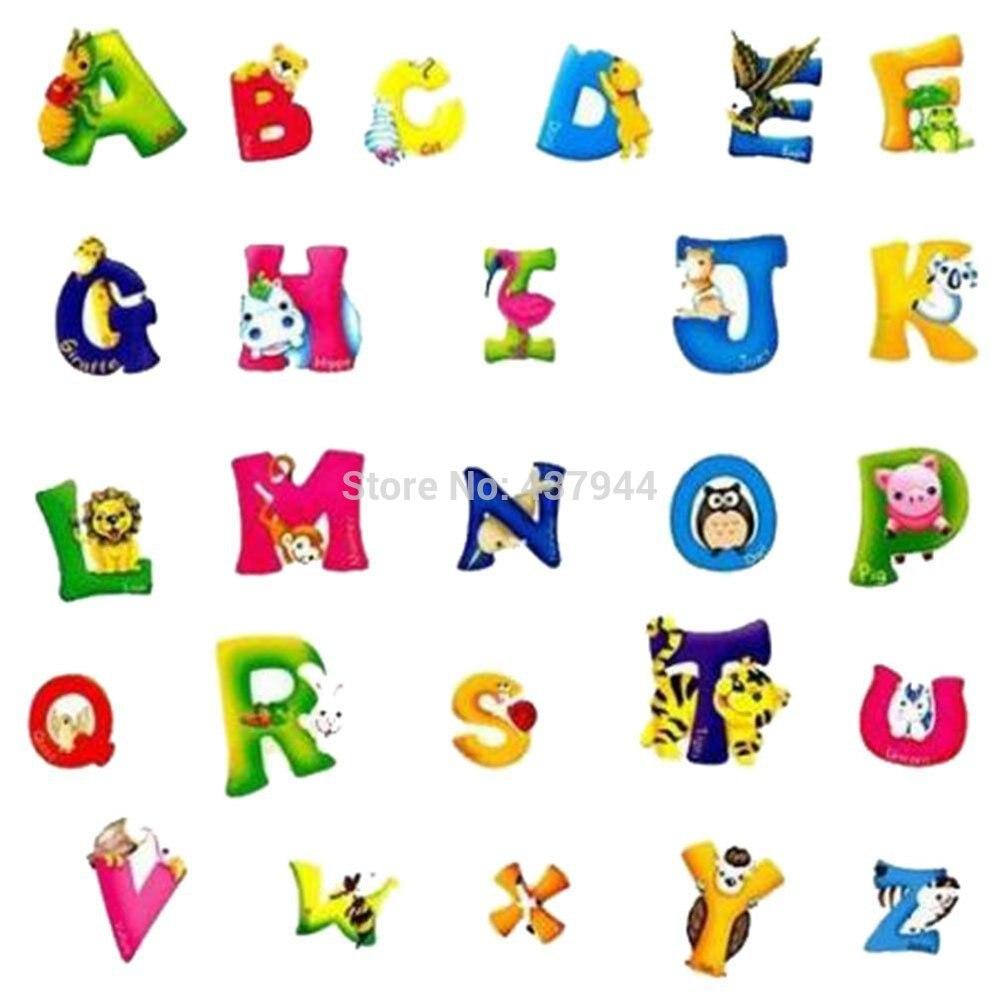 New Wallsticker Cartoon Animals Alphabet Letter A Z Learn ...