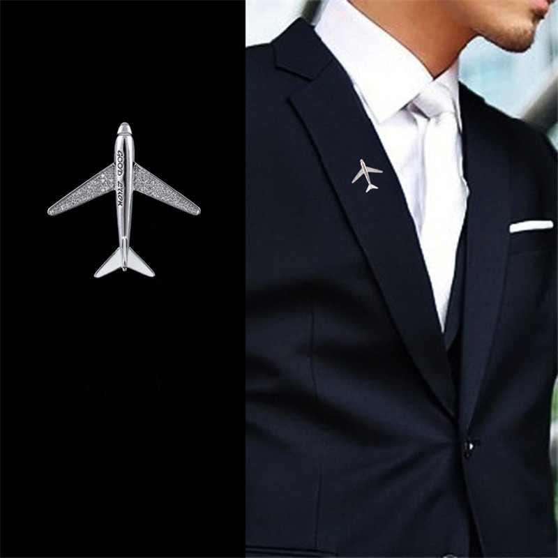Alta qualidade cintilante zircão avião avião homem pinos broches homem festa broche jóias masculino terno broche pinos presentes novo 2019