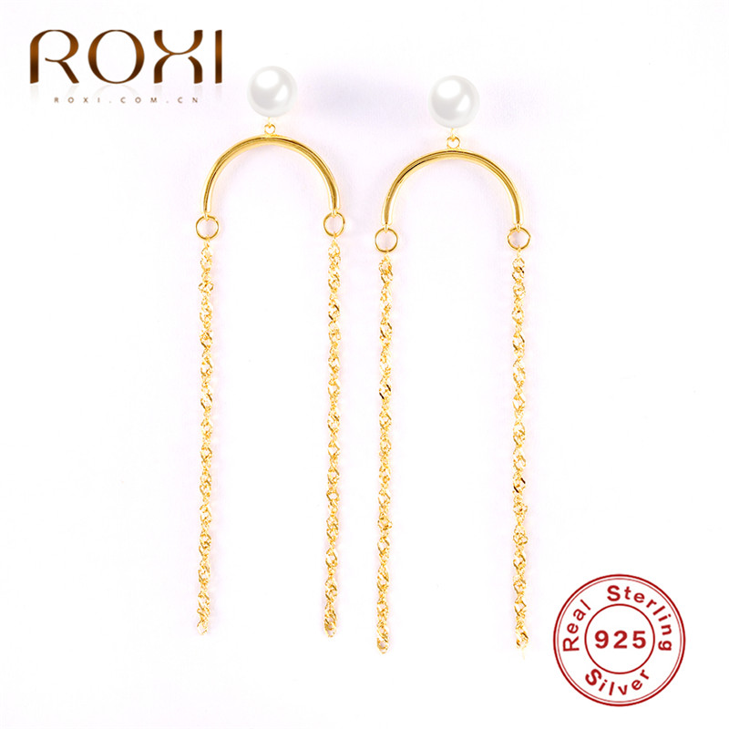 ROXI Korea Geometric Long Tassel Earrings for Women 925 Sterling Silver Pearl Link Chain Drop Dangle Jewelry