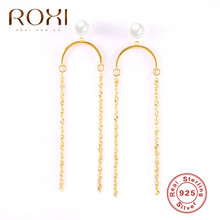 ROXI Korea Geometric Long Tassel Earrings for Women 925 Sterling Silver Earrings Pearl Link Chain Drop Dangle Earrings Jewelry fake pearl chain tassel drop earrings