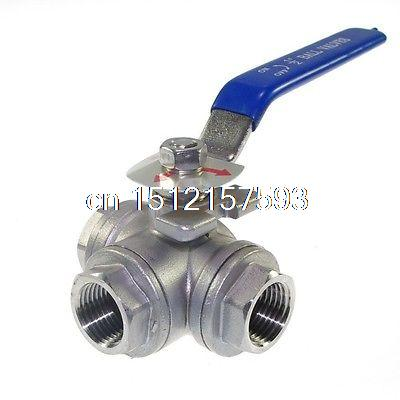 1PCS DN25 G1 Female 3-Way L-Port 304 Stainless Steel Ball Valve 1 1 4 dn32 female stainless steel ball valve 3 way 316 screwed thread manual ball valve handle t port gas oil liquid valve