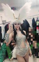 White Feather Bodysuit Jazz Dance Costumes Bar DJ Dancers Sexy Nightclub DS Singer Rave Clothes Rhinestone Dress Stage Wear