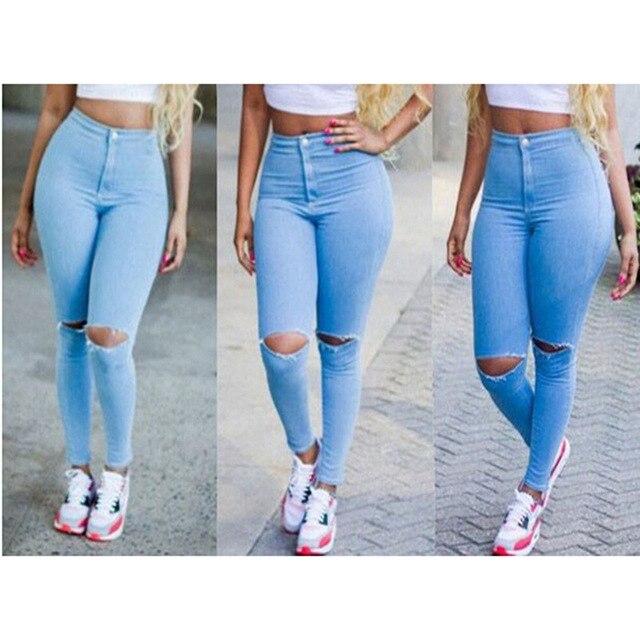 a0bf557cdd6 Pantalones vaqueros calientes 2016 Mujeres jeans de Moda Denim Hembra  Strech azul Negro Flaco Agujero Rasgado