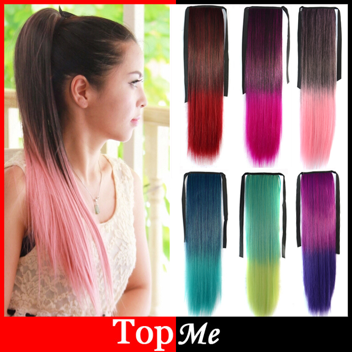Women Ponytails Hair Extensions Colorful Europe America Synthetic