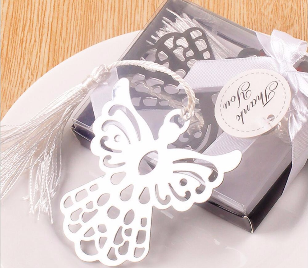 30pcs Silver Stainless Steel Angel Bookmark For Wedding Baby Shower ...