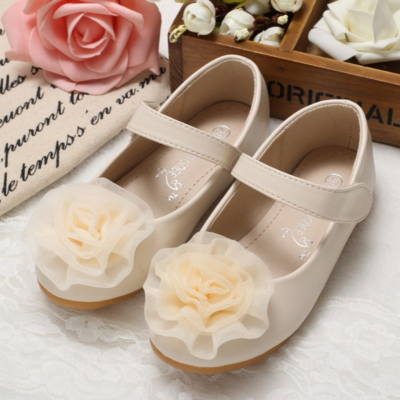 2017 New Children soft leather shoes fation rose flower princess girls single shoes party dress dance shoes for baby girls flats