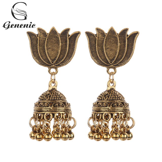 1 Pair 2019 New Retro Vintage Indian Bohemian Fashion Women Peacock Drop Dangle Earrings Beads Tassel Ear Stud Gypsy Jewelry