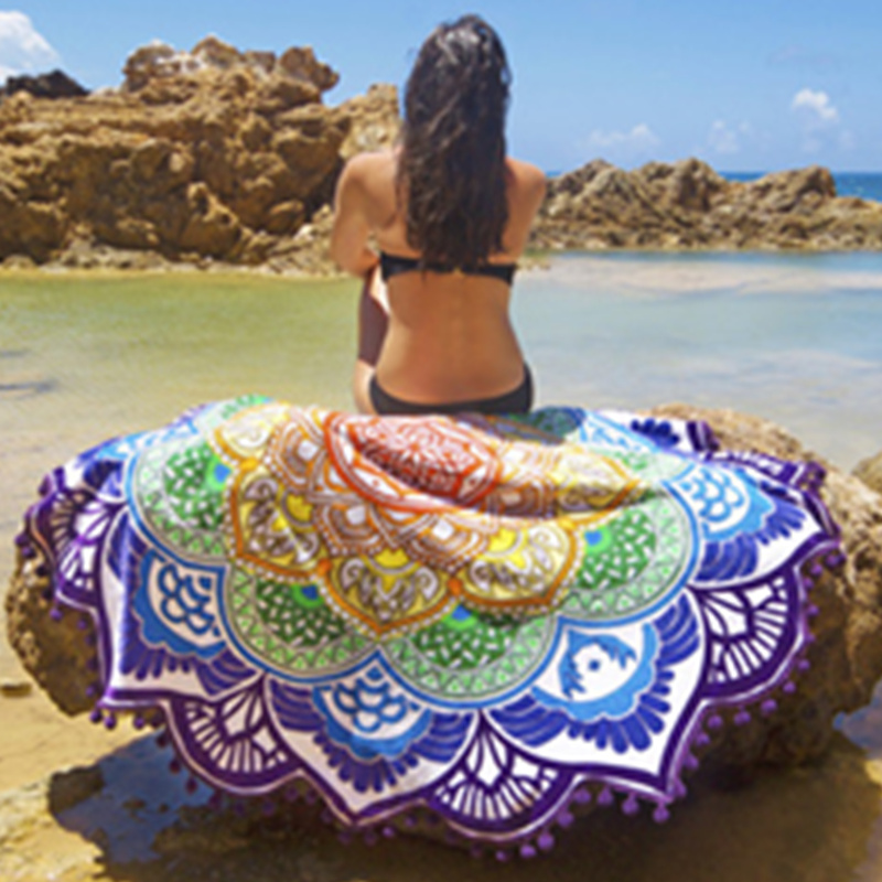 Bohemian Style Geometric Printed Towels Indian Mandala Round Roundie Throw Tapestry Hippie Beach Round Shawl Towels L38355