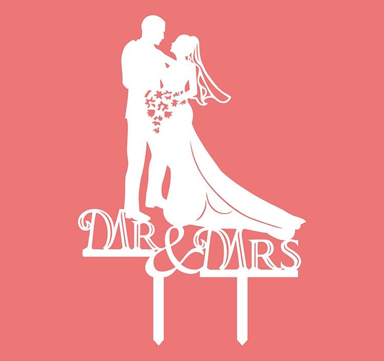 1pc kreativní nevěsta ženich akrylové svatební dort vlajka topper MR & MRS dort vlajky pro svatební výročí strana dort pečení výzdoba  t