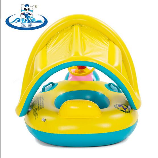 Safety Baby Infant Swimming Float Inflatable Adjustable Sunshade Seat Boat Ring Swim Pool