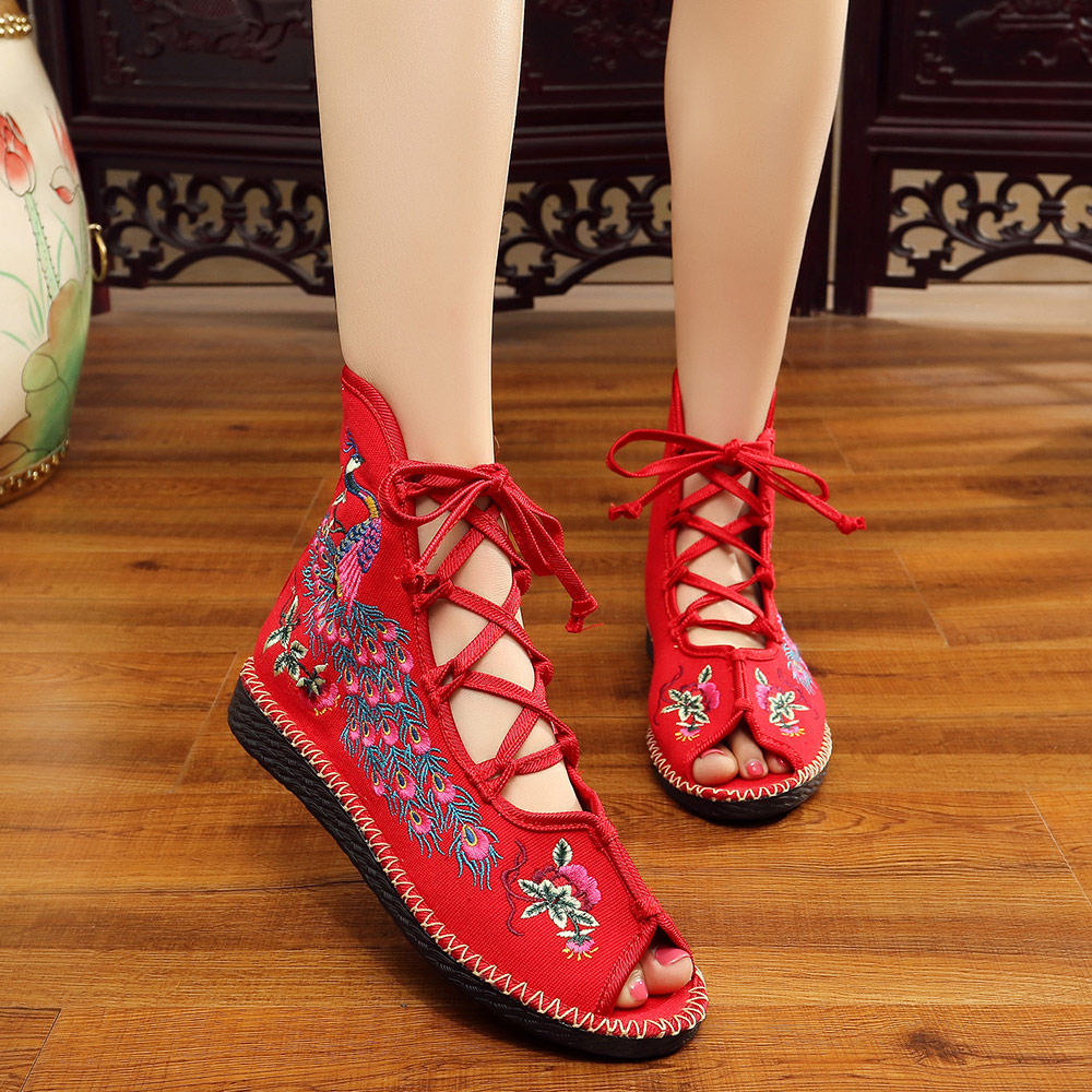 18ee4e416cf8 ... Veowalk Peacock Embroidered Women Peep Toe Gladiator Canvas Sandals  Chinese Handmade Lace up Ladies Summer Fabric ...