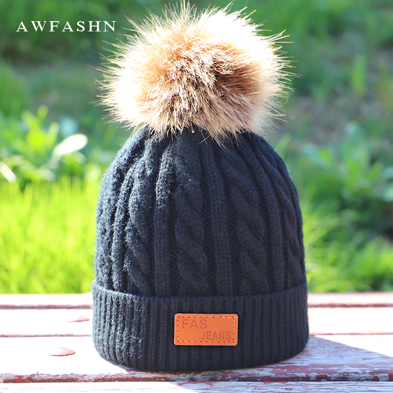 Hot Fashion Brand Children's Pompon Knit Beanie Hat Autumn Winter Cute Soft Cap Boy Girl Beanies Thicken Slouchy Faux Fur Kids