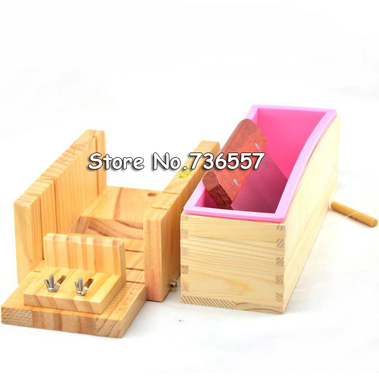 New Silicone Mold Soap Making Tool Set-3 Adjustable Wooden Loaf Cutter Box 1Pieces Stainless Steel Blades for DIY Handmade 2016 one soap mold loaf cutter adjustable wood and beveler planer cutting tool set